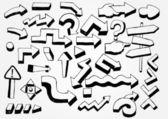 Many doodled arrows — Stock Vector