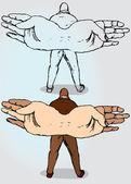 Man with Hand-Wings — Vector de stock