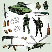 Military Things — Stock Vector