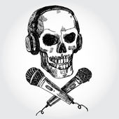Skull with Microphones — Stok Vektör