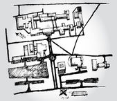 Esquisse d'une carte — Vecteur