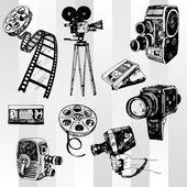 Conjunto de cinema retrô — Vetor de Stock