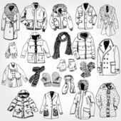 Set of Clothes Hand Drawn — Stock Vector