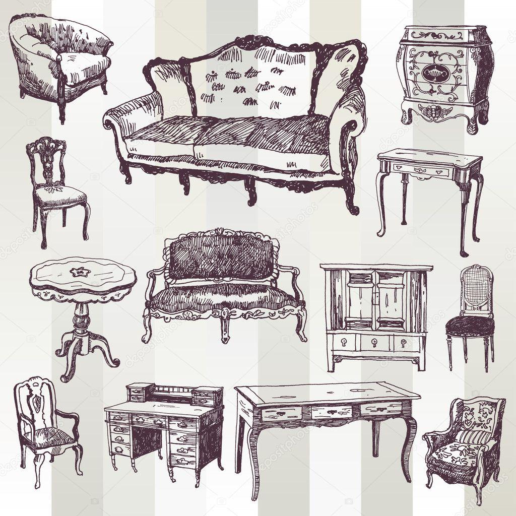 Mueble antiguo vector de stock tsaplia 30844409 - Fotos de muebles antiguos ...