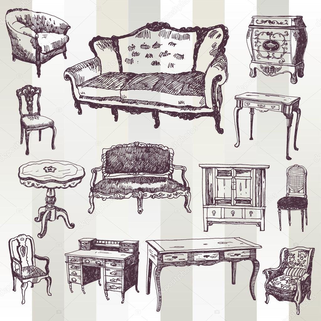 Antique furniture stock vector tsaplia 30844409 - Sofas clasicos ...
