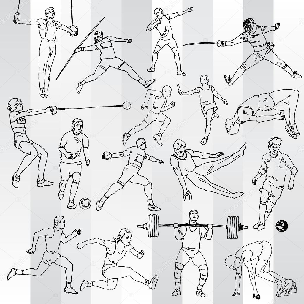 Рисунок спортсменов карандашом 2