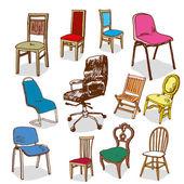 Chairs Hand Drawn — Stok Vektör
