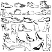Different Shoes Hand Drawn — Stock Vector