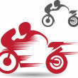 2 images of motocyclists — Stock Vector
