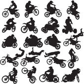 20 images of sportsmen of motorcyclists — Stock Vector