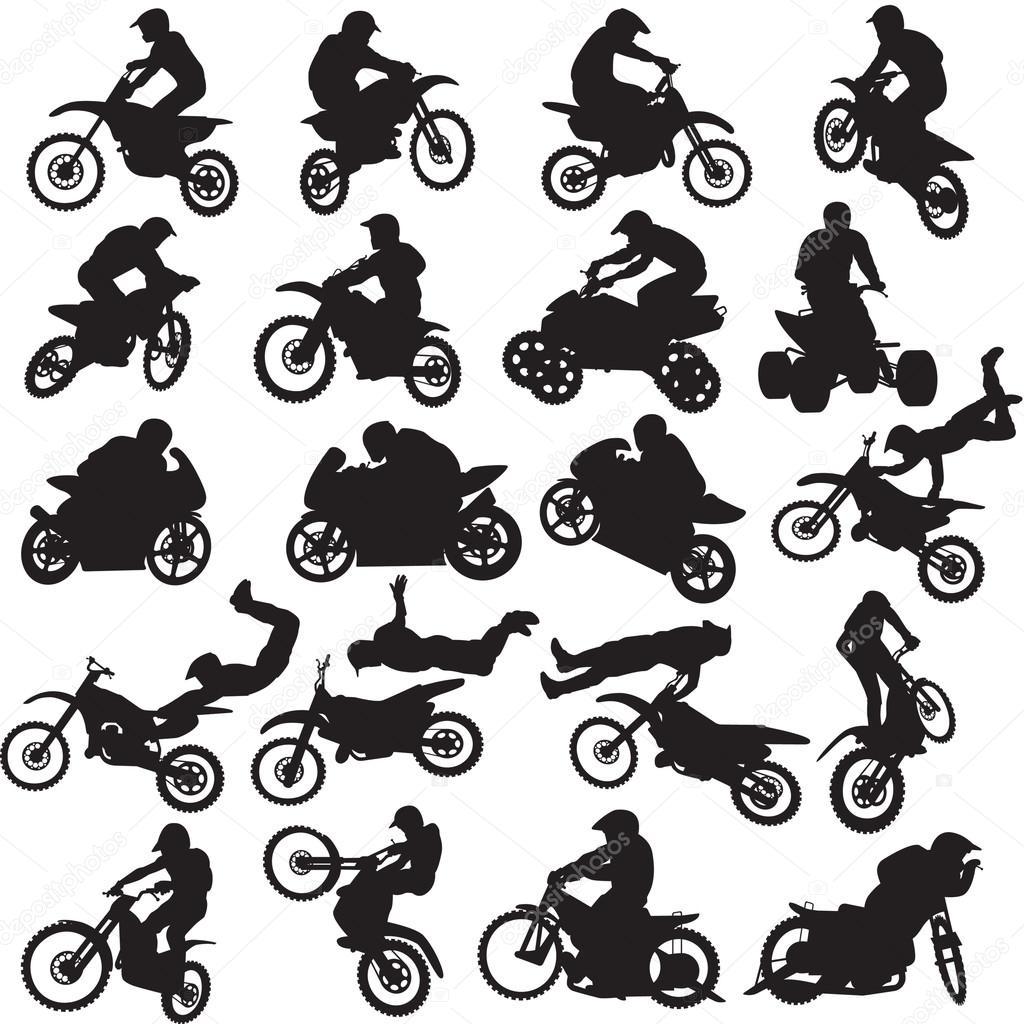20 黑色图像在白色背景上的电单车司机 — 图库矢量图片#33601085