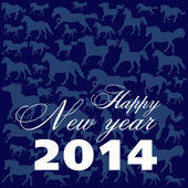 New Year's card on a dark blue background — 图库矢量图片