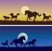 Running horses against a decline, nights — Stock Vector
