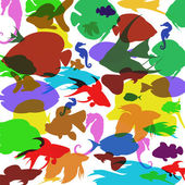 Vector background with colorful fish — Vector de stock