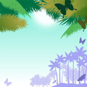 Vector background with butterflies and palms — Vector de stock