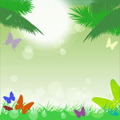 Vector tropical background with l butterflies. — Stock vektor