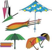 Zbiór różnych parasole — Wektor stockowy
