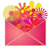 An envelope with summer flowers inside. — Stockvektor