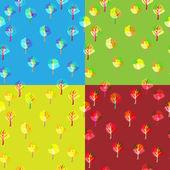 Set 4 tree season background — 图库矢量图片