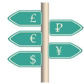 Waluta znak drogowy — Stockvector