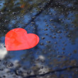 Stock Photo: Image of heart on blue car hood and rain drops