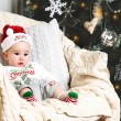New year baby under the christmas tree — Foto Stock