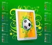 平板电脑与足球球,巴西,表 — 图库矢量图片
