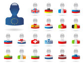 Flags of Europe (people) - part 1 — Stock Vector