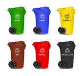 Set of colorful recycling bins. Vector. — Stock Vector