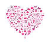 Heart shape icons — Stok Vektör