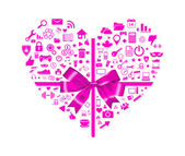 Icons of heart shape with ribbon tie. — 图库矢量图片