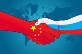 Handshake China and Russia — Stock Vector