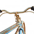 Vintage handlebar of a bicycle isolated on white — Stock Photo