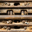 Closeup Continuous track tread from construction caterpillar typ — Stock Photo
