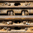 Closeup Continuous track tread from construction caterpillar typ — Stockfoto