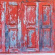 Red wooden window with white wall — Stockfoto