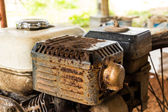 Old rusty engine of lawnmower — Стоковое фото