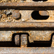 Closeup Continuous track tread from construction caterpillar type — Stock Photo