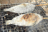 Grilled fish on roaster — Stock Photo