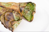 Sticky rice roast , wrapped in banana leaves and white backgroun — Stockfoto
