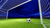 Soccer ball and goal — Stock Photo