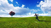 Trees in a meadow with blue sky — Stock Photo