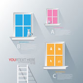 Stairs to window infographic — Stock Vector