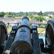 An old gun above the European town — Stock Photo