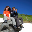 Happy man and woman in mountains. — Stock Photo #32753819
