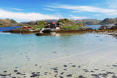 Island with fishing village in the middle of fjord, Mageroya — Stock Photo