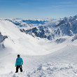 Stock Photo: Winter Pyrenees from the pass of Tourmalet