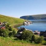 Fishing village Akkarfjord in summer — Stock Photo