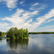 Finnish lake with green islands under summer sky. — Stock Photo #32998363
