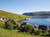 夏に釣り村 akkarfjord — ストック写真